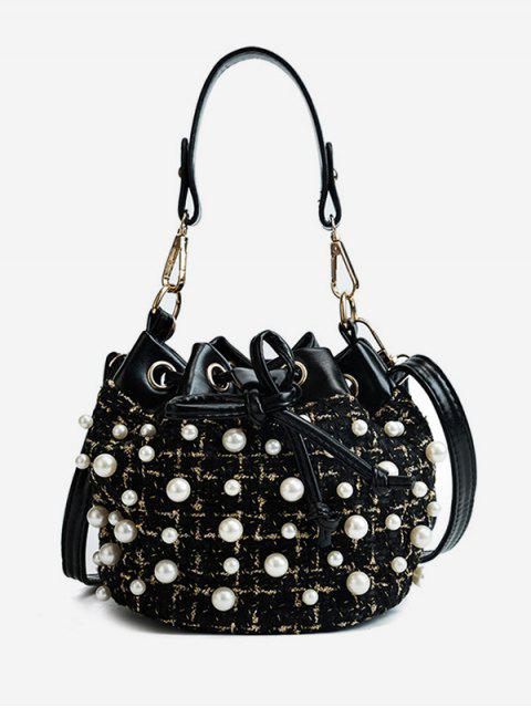 affordable Chic Faux Pearls Embellished Shoulder Bag - BLACK  Mobile