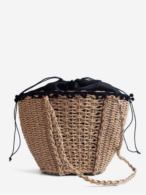 String Casual Urlaub gewebte Umhängetasche - Helles Khaki  Mobile