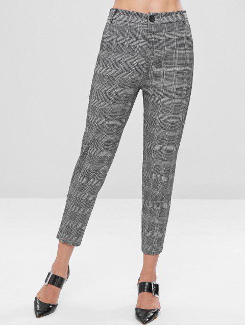 affordable Gingham Zipper Taper Pants - BLACK L Mobile
