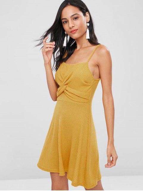 Vestido camisero de punto Twist - Amarillo Brillante M Mobile