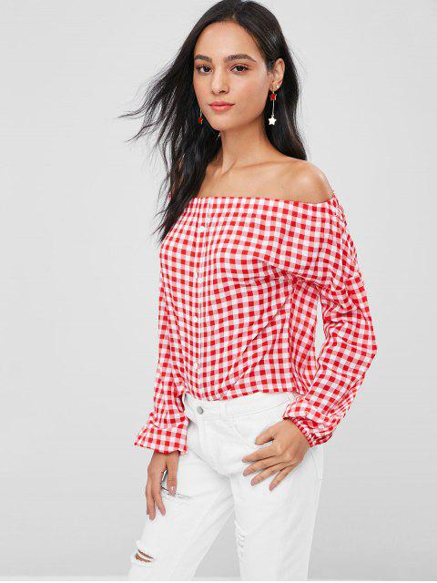 hot Plaid Buttons Off Shoulder Blouse - RED M Mobile