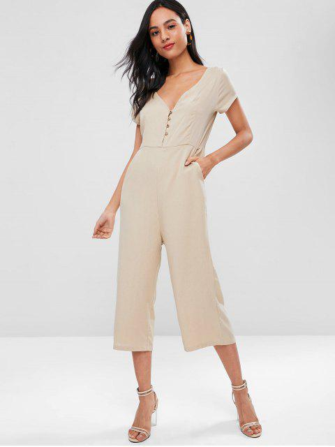 women Double V Neck Cropped Wide Leg Jumpsuit - BLANCHED ALMOND XL Mobile
