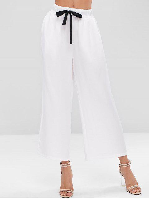 ladies Contrast Drawstring Pockets Wide Leg Pants - WHITE XL Mobile