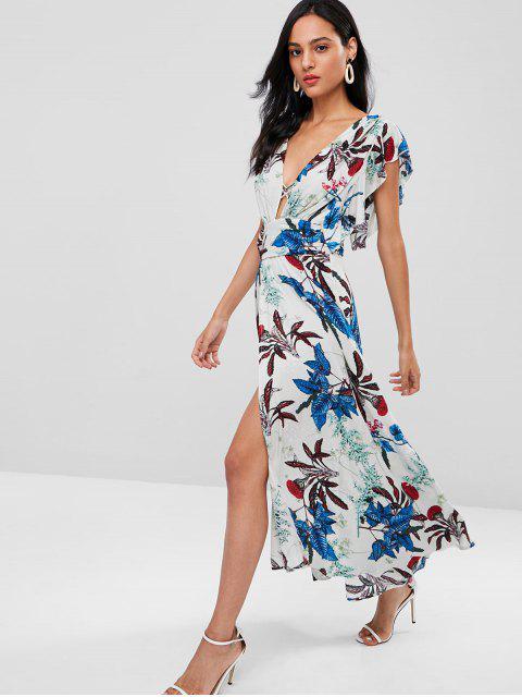 affordable Floral Ruffle Plunge High Slit Maxi Dress - MULTI L Mobile