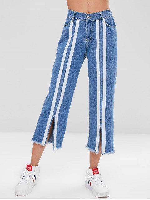 outfits Striped Patched Slit Jeans - DENIM BLUE XL Mobile