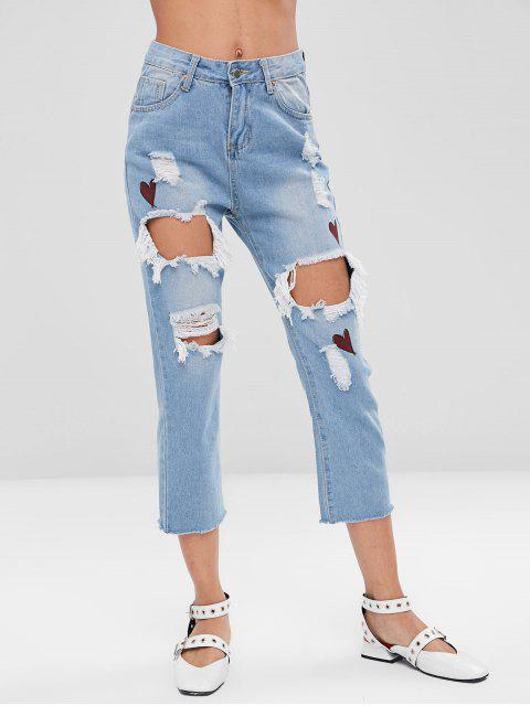 chic Heart Ripped Cut Out Jeans - JEANS BLUE M Mobile