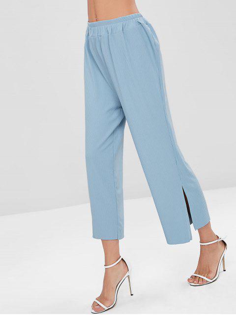 Pantalones de pierna ancha acanalados con hendidura - Ángel Azul Talla única Mobile