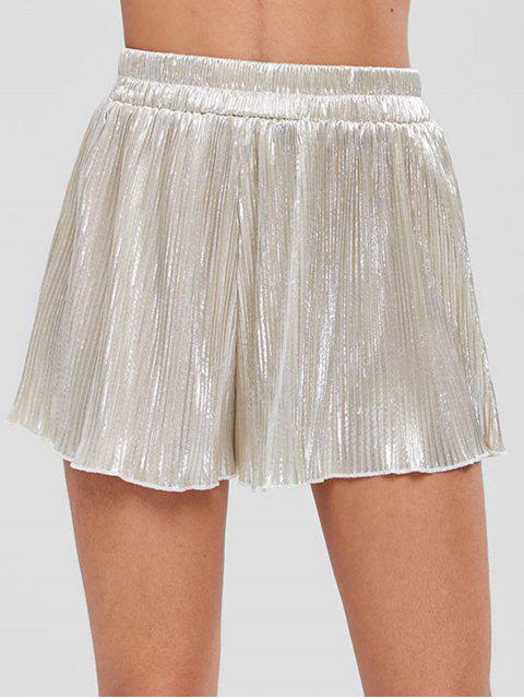 lady Pleated Metallic Sheen Shorts - SILVER 2XL Mobile