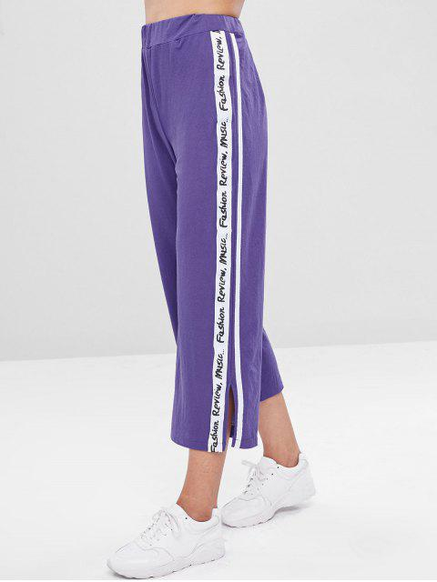 fashion Side Slit Striped Patched Pants - PURPLE L Mobile