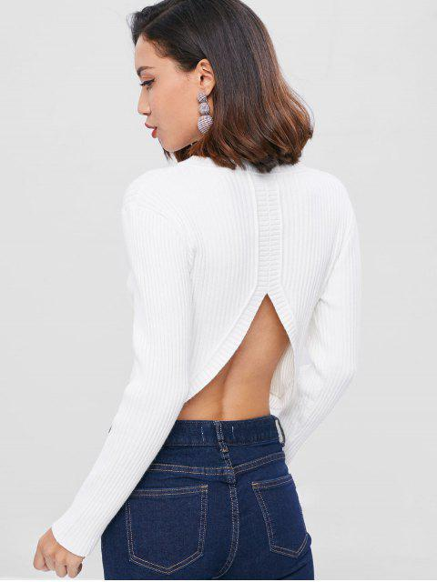 chic Cut Out Ribbed Plain Sweater - WHITE ONE SIZE Mobile