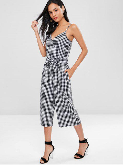 Cami Gingham Geschnittener Breites Bein Overall - Grau L Mobile