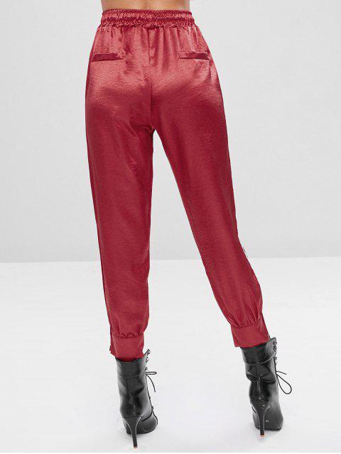 巾着文字ボタン装飾パンツ - チェスナットレッド L Mobile