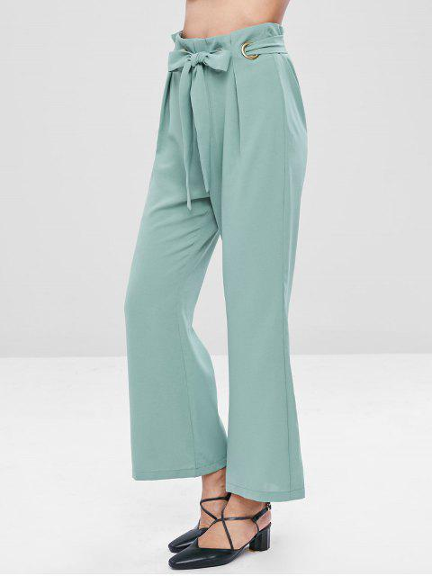 affordable Belted Boot Cut Pants - CYAN OPAQUE XL Mobile