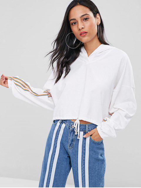 Kordelzug Saum Bunter Streifen Hoodie - Weiß Eine Größe Mobile