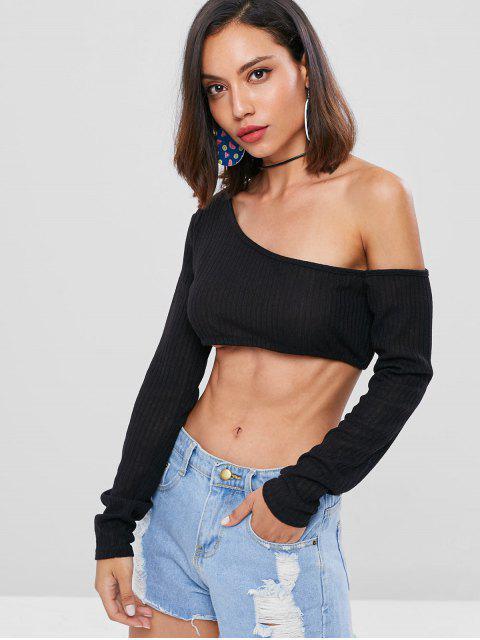 shop Cropped One Shoulder Top - BLACK L Mobile