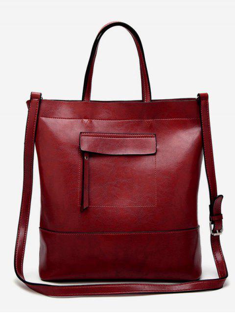 Sac fourre-tout minimaliste vintage - Rouge Vertical Mobile