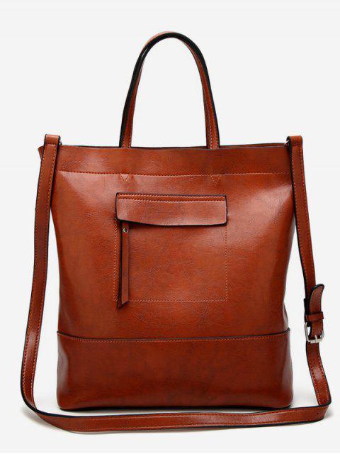 Sac fourre-tout minimaliste vintage - Brun Vertical Mobile
