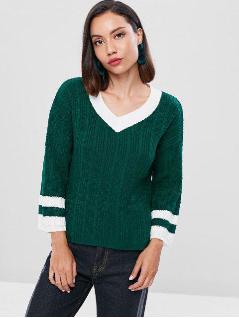 Suéter de cricket de punto de cable - Mar Verde Mediana Única Talla Mobile