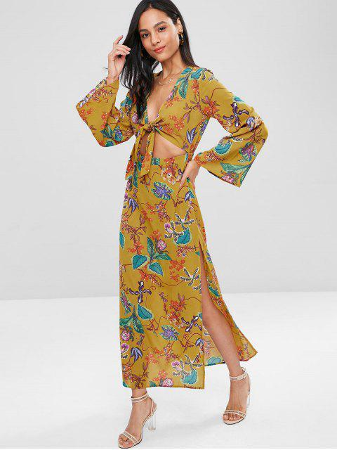 outfits High Slit Tie Front Floral Dress - MULTI L Mobile