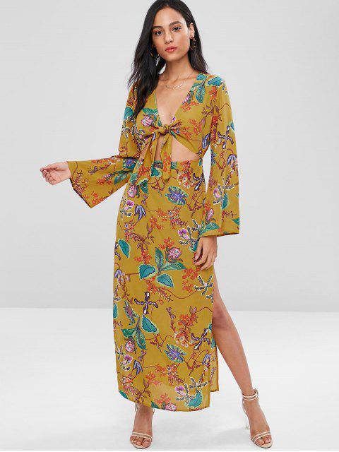 Vestido longo sem mangas com impresso de flor - Multi S Mobile