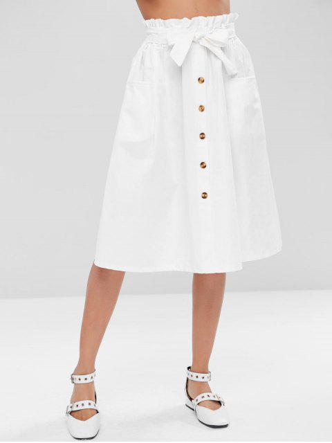 shop Buttoned A Line Skirt - WHITE ONE SIZE Mobile