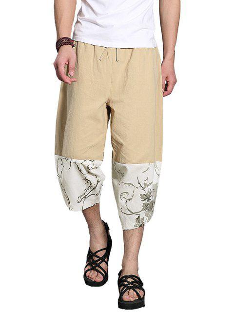 Pantalones de pierna ancha recortada patchwork - Caqui Claro XL Mobile