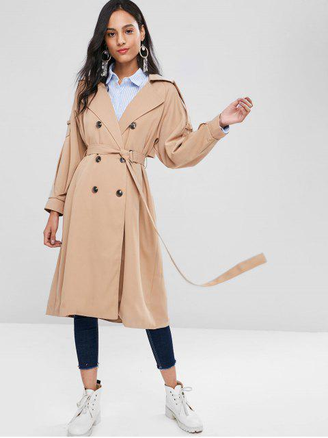 hot Belted Lapel Midi Trench Coat - TAN XL Mobile