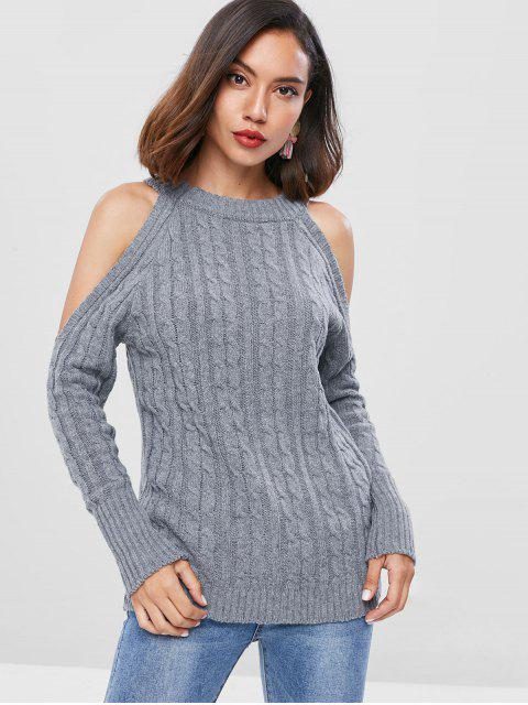 outfit Cold Shoulder Cable Knit Sweater - GRAY ONE SIZE Mobile