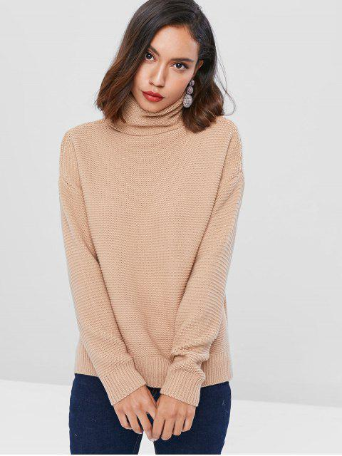 hot Drop Shoulder Turtleneck Chunky Sweater - LIGHT KHAKI ONE SIZE Mobile