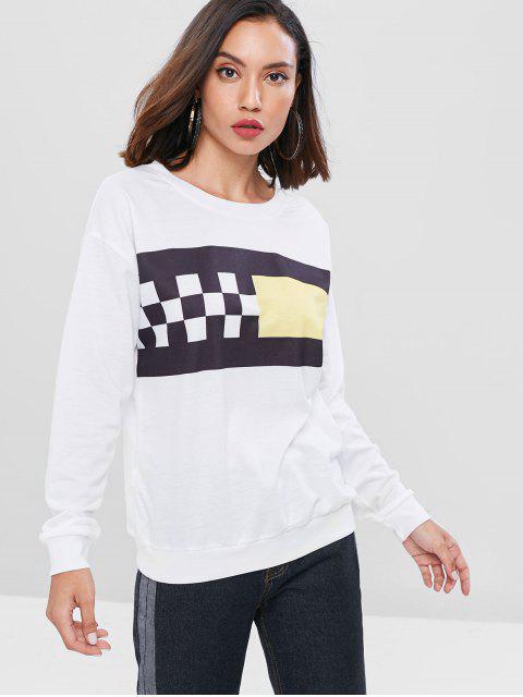 unique Plaid Print Casual Sweatshirt - WHITE L Mobile