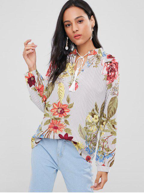 women Tassels Floral Stripes Blouse - MULTI L Mobile