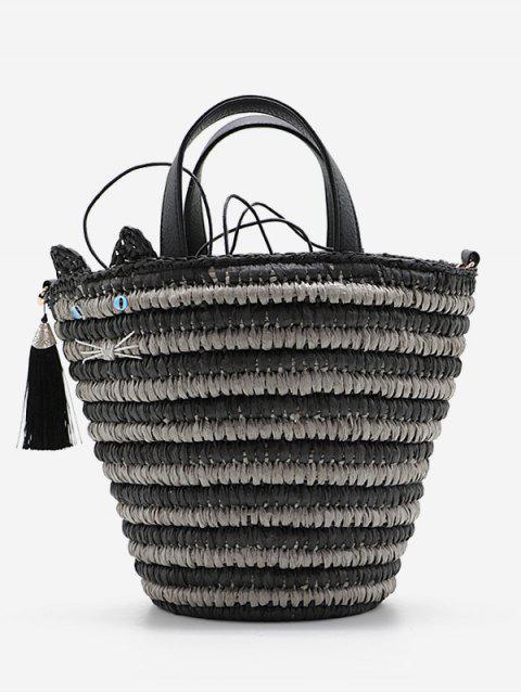 trendy Cat Tassels Woven String Tote Bag - BLACK  Mobile