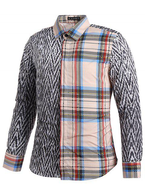 affordable Tartan and Tweeds Print Shirt - GRAY WOLF XS Mobile