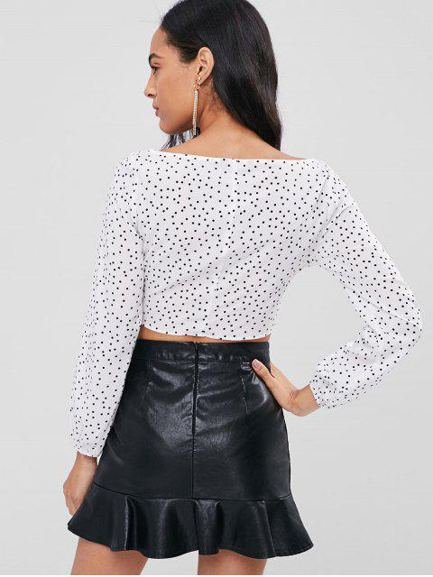 womens Tie Front Dots Top - WHITE L Mobile