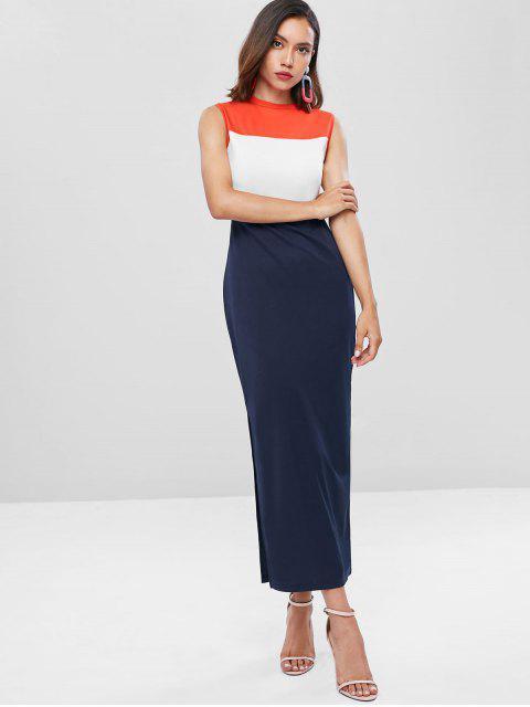Vestido Maxi com Bloco Colorido da Bloco de Cor de Corte - Azul da Meia Noite S Mobile