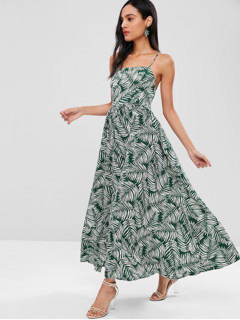 Vestido maxi de encaje estampado con estampado de hojas - Multicolor S Mobile