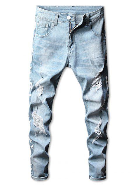 Side Graphic Taped gerippte Stetch Jeans - Baby Blau 32 Mobile