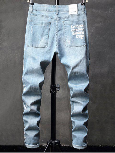 Side Graphic Taped Ripped Stetch Jeans - Azul Claro 38 Mobile