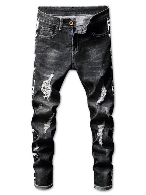 latest Ripped Faded Wash Letter Print Jeans - BLACK 34 Mobile