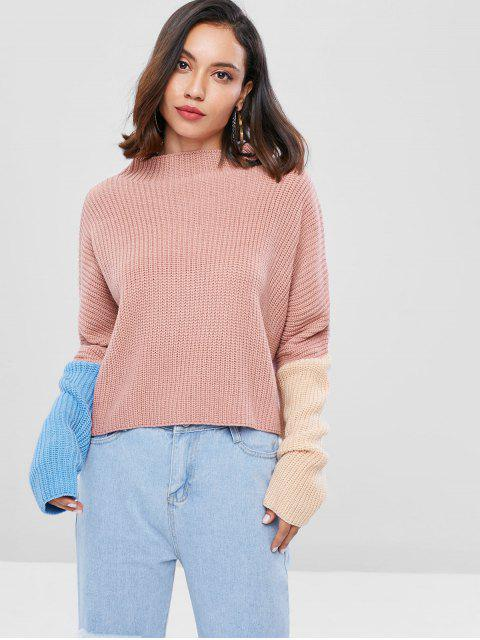 best Slash Neck Contrast Loose Sweater - LIGHT PINK ONE SIZE Mobile