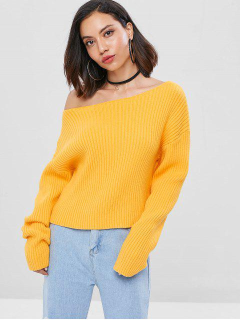 outfit Drop Shoulder Skew Collar Ribbed Sweater - BEE YELLOW ONE SIZE Mobile