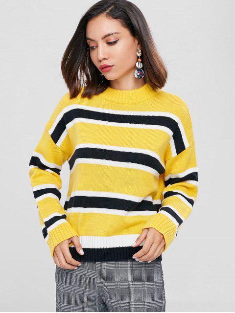 chic Drop Shoulder Striped Mock Neck Sweater - SUN YELLOW ONE SIZE Mobile