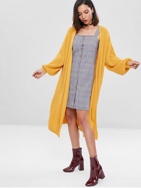 women Lantern Sleeve Drop Shoulder Cardigan - SCHOOL BUS YELLOW ONE SIZE Mobile