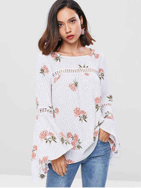 shops ZAFUL Flare Sleeve Floral Polka Dot Blouse - WHITE S Mobile