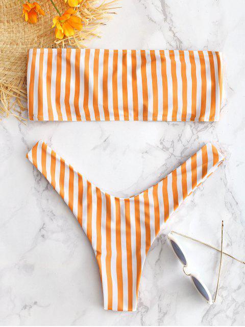 latest Striped Tie Front Bralette Bikini Set - CANTALOUPE L Mobile