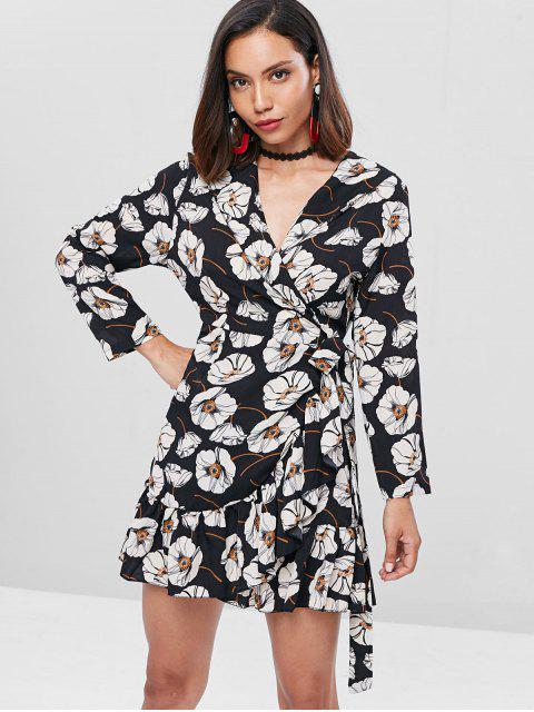 hot Ruffles Floral Wrap Dress - BLACK ONE SIZE Mobile