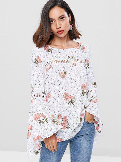 ZAFUL Flare Sleeve Floral Polka Dot Blouse - White S
