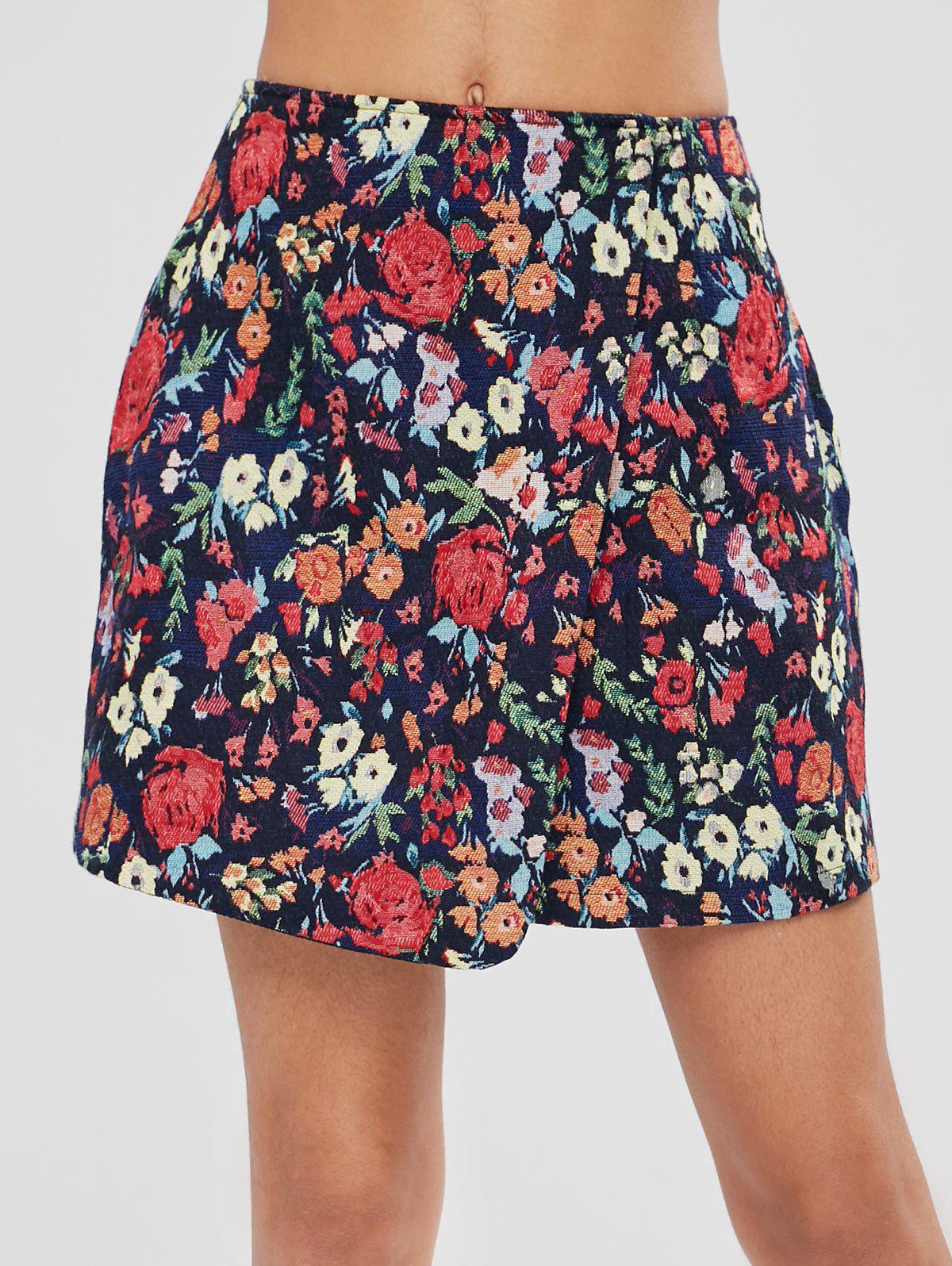 Overlap Floral Mini Skirt, Multi