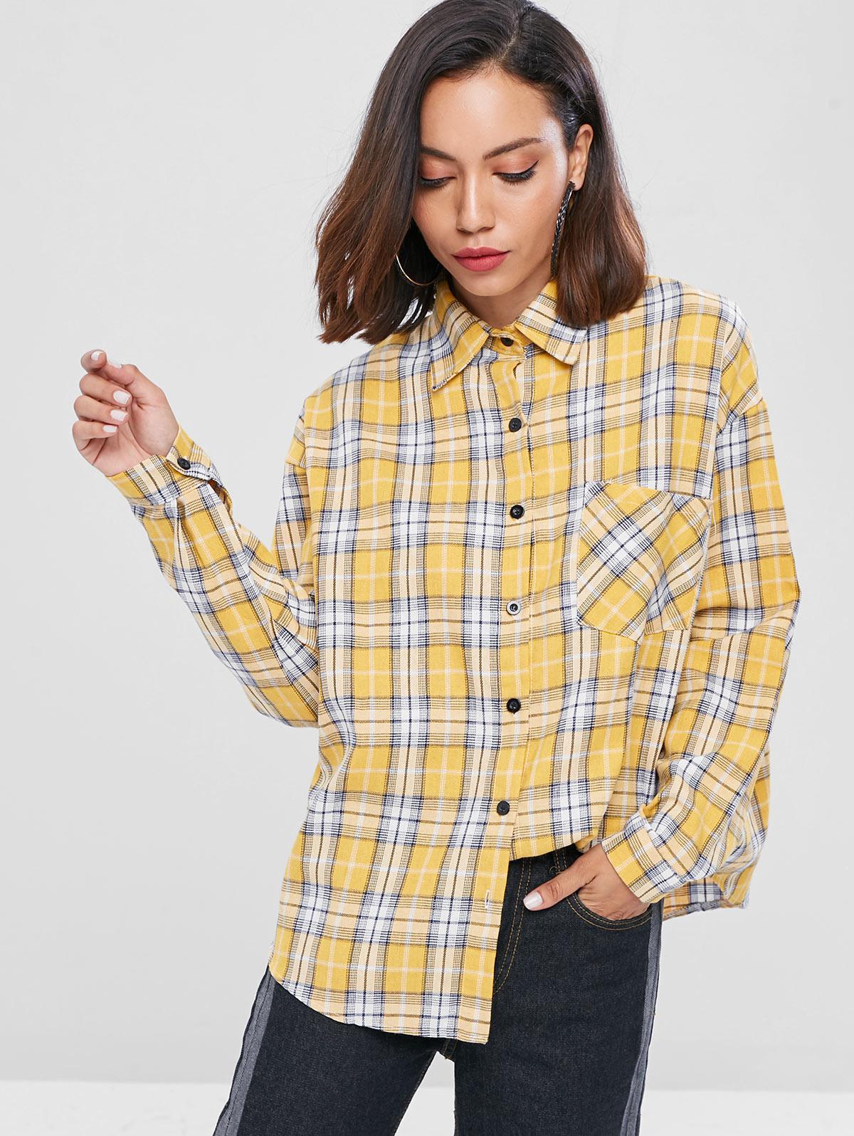 Plaid Drop Shoulder Shirt, Goldenrod