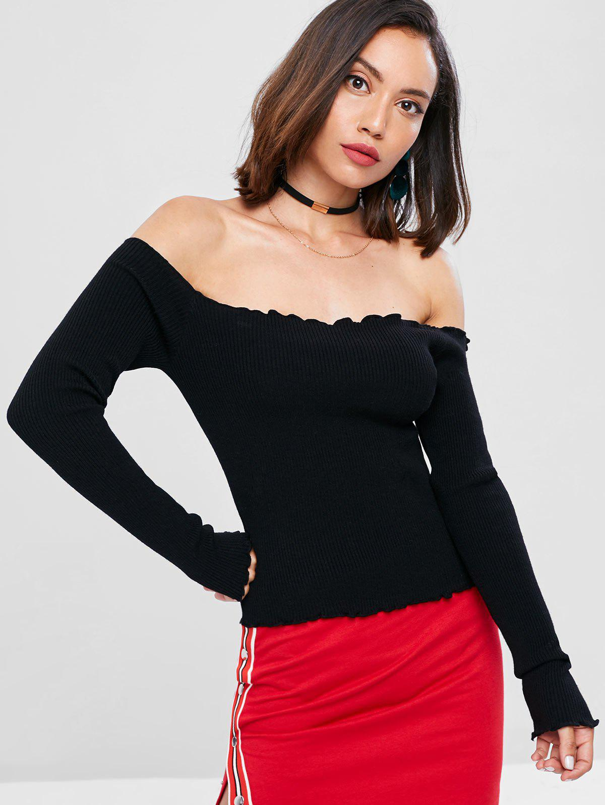 Ribbed Off The Shoulder Sweater 276303501